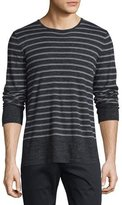 Vince Sporty Jaspe Striped Long-Sleeve Crewneck, Heathered Black