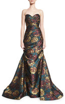 Jovani Strapless Floral Jacquard Mermaid Gown, Multicolor