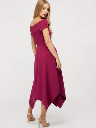 Monsoon Savea Recycled Polyester Bardot Dress - Berry