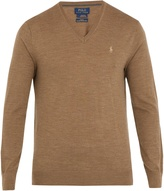 Polo Ralph Lauren V-neck logo-embroidered wool sweater
