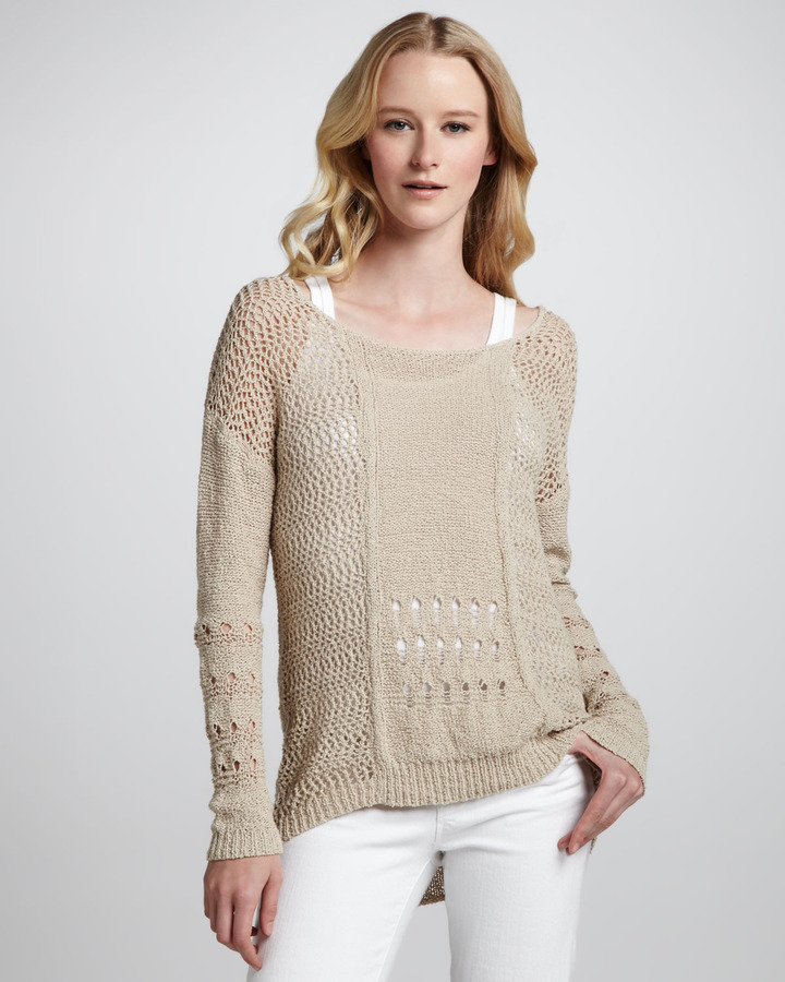 Rebecca Taylor Mixed-Knit Boatneck Sweater