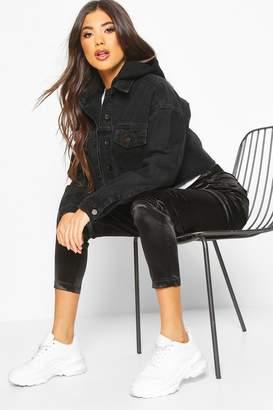 boohoo Jersey Hood jean jacket