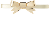Rodarte Metallic Gold Skinny Leather Waist Belt with Large Gold Bow Ornament