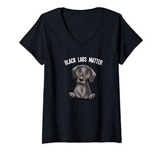Womens Labrador Retriever Gift Yellow Black Labs Matter Gift V-Neck T-Shirt