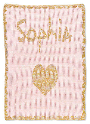 Butterscotch Blankees Single Heart Metallic Crib Blanket, Personalized