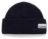 Ganni Stitched-logo Ribbed Wool-blend Beanie Hat - Womens - Navy