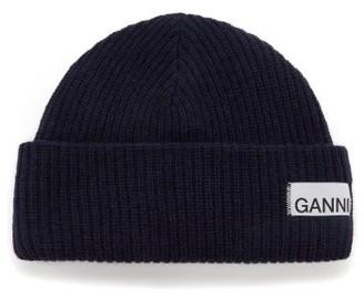 Ganni Stitched-logo Ribbed Wool-blend Beanie Hat - Womens - Navy