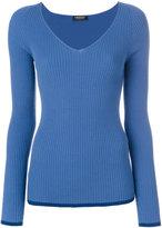 Twin-Set V-neck ribbed jumper - women - Polyester/Viscose - S