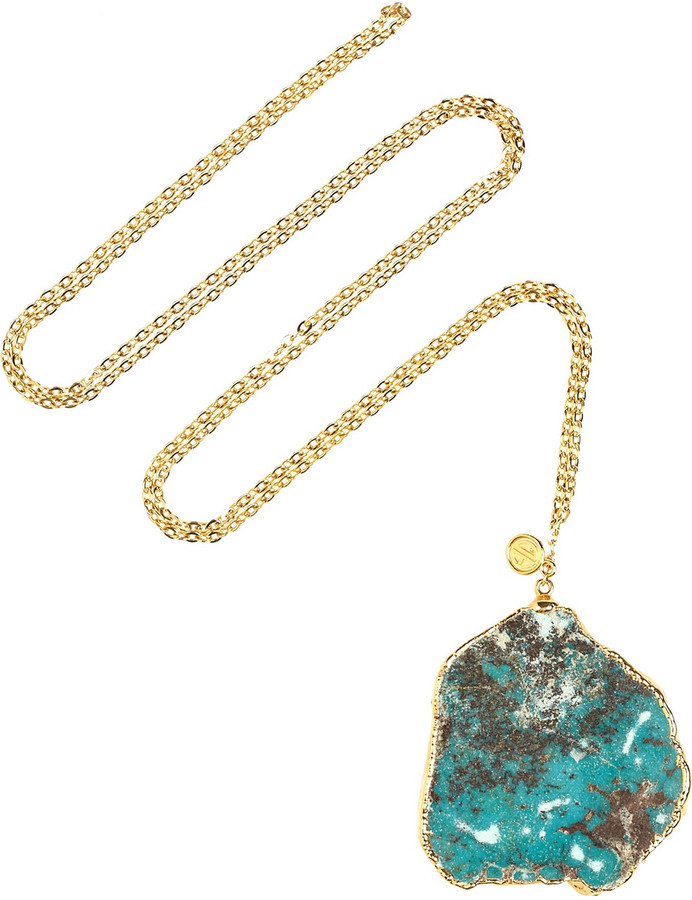 Dara Ettinger Daisy gold-plated turquoise necklace