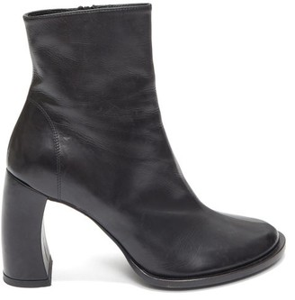 Ann Demeulemeester Curved-heel Leather Ankle Boots - Womens - Black