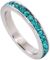 birthstonerings4u Birthstone Eternity Ring~December~Stainless Steel~Cubic Zirconia CZ Band~Blue Topaz~Turquoise Crystals~Stackable~Mother's Ring~Children's Ring~Women's Jewelry