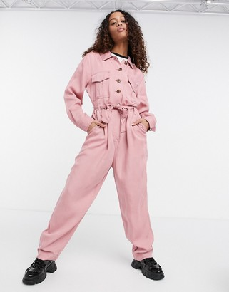 Tommy Jeans long sleeve utility coveralls in pink