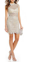 B. Darlin Mock Neck Illusion Waist Chain-Link Lace Sheath Dress