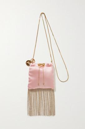 Rosantica Fatalina Mini Fringed Crystal-embellished Satin Shoulder Bag - Pastel pink