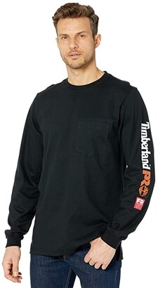 Timberland FR Cotton Core Long Sleeve Pocket T-Shirt with Sleeve Logo (Black) Men's Clothing