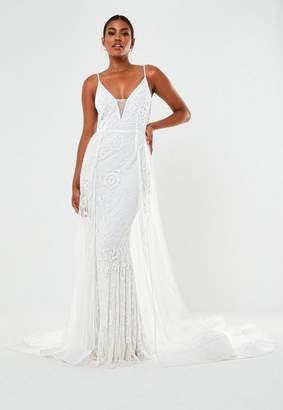 Missguided Hand Beaded Cami Strap Wedding Dress