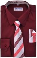 Berlioni Boy's Dress Shirt, Necktie, and Hanky Set