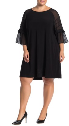 Nina Leonard Jewel Neck 3/4 Sleeve Raglan Chiffon Dress (Plus Size)