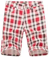 NiSeng Men's Slim Fit 11 Inch Plaid Belted Summer Chino Shorts