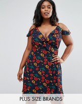 Koko Plus Wrap Dress With Ruffle Detail In Floral Print