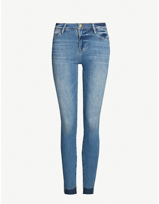 Frame Ladies Blue Leather Le High Skinny High-Rise Jeans, Size: 24