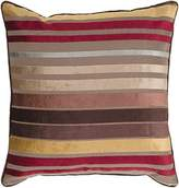 Surya JS-023 Hand Crafted 60% Viscose / 40% Cotton Red 22 x 22 Striped Decorative Pillow by