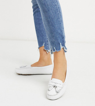 Dune Wide Fit gaze leather tassel loafer flat shoes in white