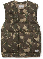 Neighborhood Camouflage-Print Quilted Shell Down Gilet