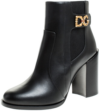Dolce & Gabbana Black Leather Logo Detail Ankle Boots Size 38.5