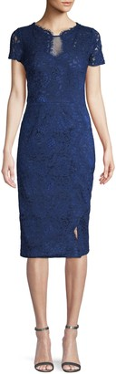 JS Collections Lace Short-Sleeve Sheath Dress