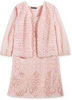Sequin Hearts 2-Pc. Faux-Fur Vest & Metallic-Print Shift Dress Set, Big Girls (7-16)
