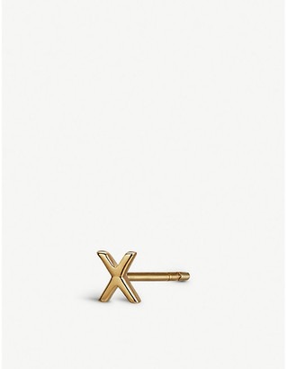 Selfridges X initial 9ct gold stud earring
