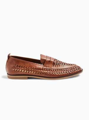 TopmanTopman Tan Farrier Weave Loafers