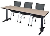"BEIGE 84"" W Hendrix Training Table with Chairs Symple Stuff Tabletop Finish"