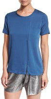 Halston Short-Sleeve Silk Combo Pocket Tee, Smokey Blue