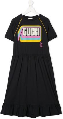 Gucci Kids Tiger print ruffle hem dress