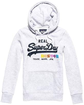 Superdry Vintage Logo Pop Entry Hoodie in Cotton Mix with Pocket and Logo Print