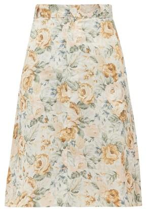 Ephemera - High-rise Floral-print Linen Skirt - Yellow Multi