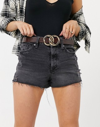 ASOS DESIGN double chain circle waist and hip belt in chocolate croc