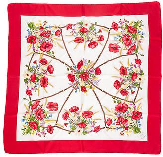 One Kings Lane Vintage Gucci Red Floral Silk Scarf - Vintage Lux - red/cream