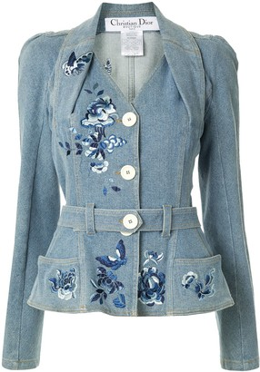 Christian Dior pre-owned Power Shoulder denim jacket