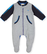 Armani Junior Long-Sleeve Colorblock Footie Pajamas, Gray, Size 3-12 Months
