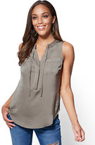New York & Co. Soho Soft Shirt - Tie-Front Sleeveless Blouse