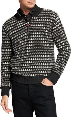 Kiton Men's Geometric Quarter-Zip Cashmere Pullover