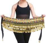 Yeeco Belly Dance Belt Hip Wrap Waist Dancing Skirt 338 Gold Coins (Black)