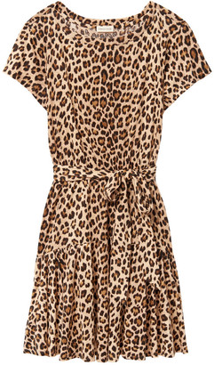 Rebecca Taylor Short sleeve leopard linen jersey dress - XS - Brown/Natural