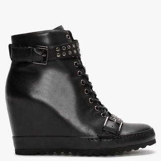Daniel Pledge Black Leather Studded Wedge Ankle Boots