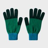 Paul Smith Men's Bottle Green Colour-Block Wool Gloves