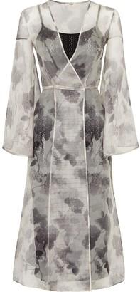 Fendi Floral Print Sheer Wrap Dress