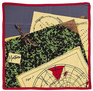 One Kings Lane Vintage Montana Burgundy Map Twill Scarf - Vintage Lux
